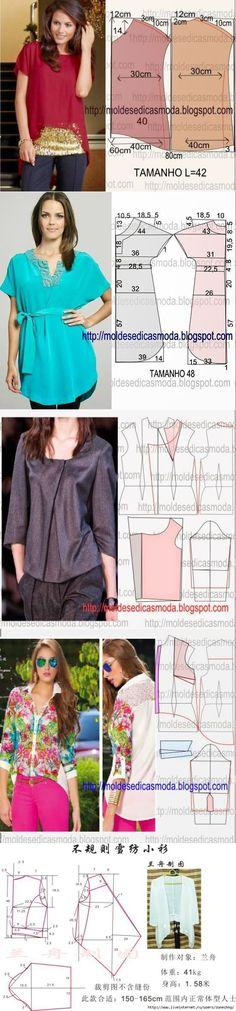 part) // Людмила ) Blouse Patterns, Clothing Patterns, Sewing Patterns Free, Sewing Tutorials, Sewing Clothes, Diy Clothes, Sewing Studio, Fashion Sewing, Apparel Design