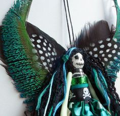 Christmas Ornament, hanging tree ornament, Christmas fairy peg doll, Day of the Dead fairy ornament, OOAK