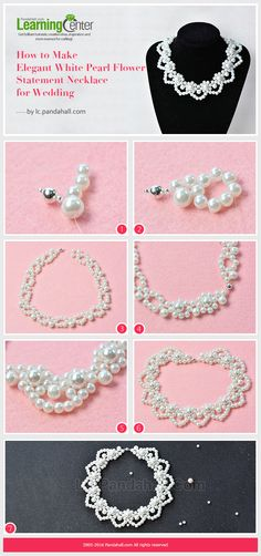 Tutorial on How to Make Elegant White Pearl Flower Statement Necklace for…
