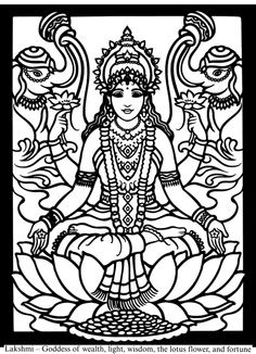 coloring pages of goddesses for free | Hindu Gods and Goddesses Stained Glass Coloring Book Dover ...