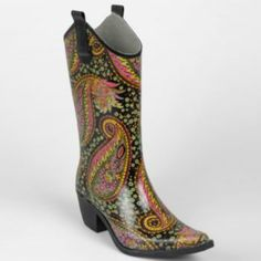 Journee Collection Paisley Cowboy Rain Boots - Women