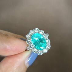 3.1 Carat Paraiba Tourmaline Engagement Ring Blue Stone Ring Tourmaline Ring Paraiba Ring Blue Tourm