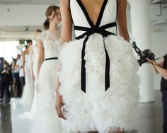 Black details on the beautiful Marchesa gown! A fun twist on a bridal gown!