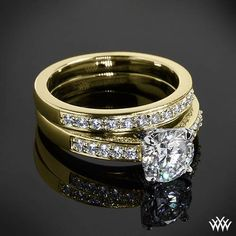 """A genuinely exceptional pair, Yellow Gold with White Gold Head """"Flush-Fit"""" Diamond Engagement Ring and Wedding Ring"""