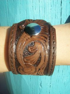 Country Western Tooled Leather Cuff by ShabbyDesertBoutique, $35.00