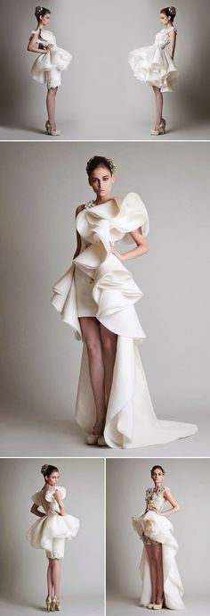 Short wedding dresses have become a popular choice for brides who want something a little different. Short wedding dress designs were first inspired by favorite Bridal Dresses, Wedding Gowns, Prom Dresses, Dresses Uk, Fall Dresses, Lace Wedding, Look Fashion, Fashion Show, Fashion Design