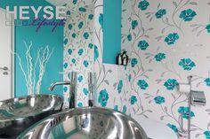 Tapete Im Gästebad, Florales Muster, Tapete, Vliestapete, Wandgestaltung Im  Bad Http: