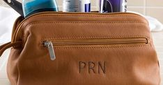 Personalized Tan Leather Dopp Kit - he could really use a new toiletry bag. Love the classic style and monogram on this one! Bday Gifts For Him, Anniversary Gifts For Him, Birthday Gifts For Boyfriend, Gifts For Father, Boyfriend Gifts, Thoughtful Gifts For Him, Bodo, Dopp Kit, Best Gifts For Men