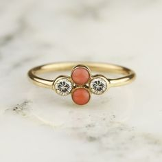 Diamond and Coral Bezel Set Cluster Ring in 14k by HoardJewelry
