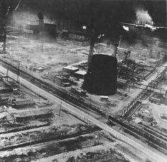 B-24 Liberator during low level attack of the Ploesti oil refineries, Ploesti Romania, Aug 1 1943