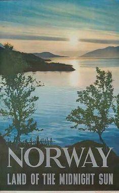 Norway Land of Midnight Sun Original Travel Poster Date: 1953 Vintage Travel Posters, Vintage Postcards, 1950s Posters, Land Of Midnight Sun, Original Travel, Norway Travel, Travel Illustration, Poster S, Illustrations