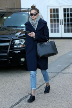 Cuffed skinny jeans, sneakers, scarf, tote