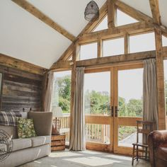 A glazed gable end in an oak frame barn conversion cornwall