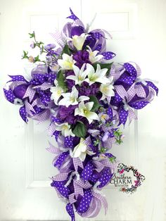 Deco Mesh Easter Cross Wreath -Easter Door -Purple - Hydrangeas