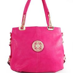 Click Here and Buy it On Amazon.com $46.99 Amazon.com: New Arrival Designer Inspired Embossed Solid Unique Signature Panel Detailed Tote Sathcel Shopper Handbag Purse with Adjustable Shoulder Strap in Fuchsia Hot Pink: Clothing