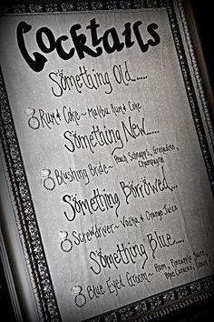 24 x 14   the drinks are  something old: white owl (smirnoff kahlua ) something new: whomping willow (absolut & apple pucker) something borrowed: shrieking shack ( spiced rum malibu rum pineapple juice & o.j.) something blue: unicorn blood ( blue curaco absolut & lemonade)