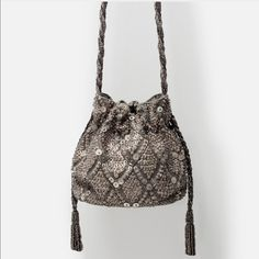 Zara Beaded Drawstring Bag NWT Brand new with tags. Sold out and no longer available at Zara. Mint condition never worn. No trades please! xoxo RARE Zara Bags