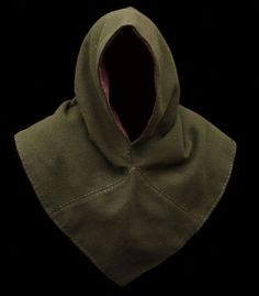 Wool Viking hood dark green