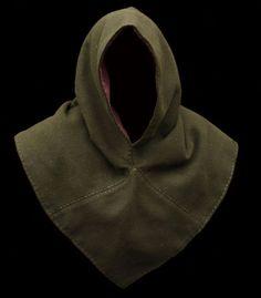Wool Viking hood dark green