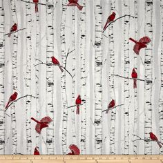 Woodsy Winter Metallic Cardinals in Trees Fog/Silver from @fabricdotcom  From Hoffman California International Fabric, this cotton print fabric is perfect for quilting, apparel and home decor accents. Colors include red, black and grey. Features silver metallic accents throughout.