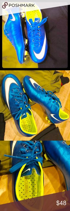 Nike Mercurial soccer cleats - blue Women's sz 8 Nike Mercurial soccer cleats — Women's size 8 (Youth size 6) — Metallic blue — Yellow and white detail — Excellent used condition (see tread pic) — Worn 5x Nike Shoes Athletic Shoes