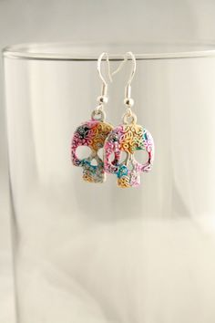 Day of the Dead Sugar Skull Earrings Colorful Bright Painted Hypoallergenic