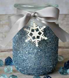 Glitter Candle Gift - Candles - Ideas of Candles - A winter spin on a classic glitter candle to gift to teachers or neighbors. Tag with Being in your class is 'snow' much fun! Mason Jar Christmas Crafts, Blue Christmas Decor, Christmas Candles, Mason Jar Crafts, Mason Jar Diy, Xmas Crafts, Christmas Gifts, Christmas Decorations, Homemade Christmas