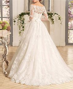 Dressylady Off the Shoulder Appliques Long Sleeve Ball Gown Wedding Dress for Bride at Amazon Women's Clothing store: