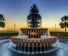 Waterfront Park Pineapple Fountain In Charleston Sc by Pierre Leclerc Photography Charleston Hotels, Charleston Sc, Vacation Places, Vacation Trips, Vacation Rentals, Fountain Of Youth, Great Photos, Travel Usa, Beautiful World