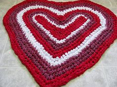 Red Plaid Heart Rug 031314 by Kimsrugs on Etsy, $55.00