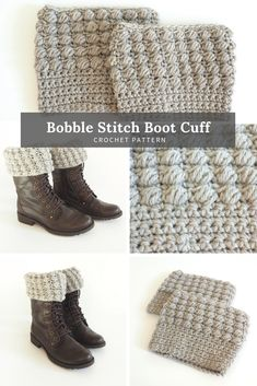 FREE CROCHET PATTERN: Bobble Stitch Boot Cuff You can get this luxurious yarn and a digital pdf pattern here. Every kit comes with all the skeins you'll need to complete this project. CLICK THE PATTERN NOW! Crochet Boot Socks, Crochet Boot Cuff Pattern, Knitted Boot Cuffs, Crochet Leg Warmers, Knit Hats, Guêtres Au Crochet, Crochet Gratis, Free Crochet, Knitting Patterns