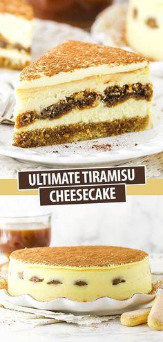 Tiramisu Cheesecake - with an espresso cake layer, a creamy cheesecake filling, espresso-soaked ladyfingers and a silky tiramisu topping! Tiramisu Cheesecake, Tiramisu Dessert, Best Cheesecake, Cheesecake Recipes, Dessert Recipes, Goody Recipe, Espresso Cake, Layer Cake Recipes, No Sugar Foods
