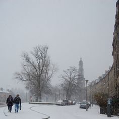 Couple caught out in a snow storm on Broughton Road, Edinburgh Caught Out, Edinburgh Scotland, Celtic, Snow, Couple, Adventure, City, Places, Outdoor
