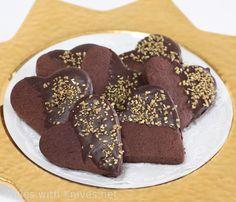 Dark Chocolate Sugar Cookie Hearts for your Valentine