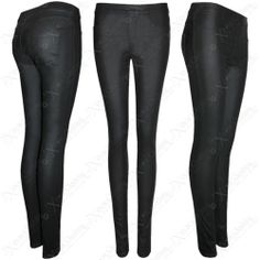 NEW WOMEN LADIES STRETCH FIT PU LEATHER LOOK BLACK LEGGINGS SKINNY JEGGING JEANS | eBay #fashion #womens #clothes #shopping #style