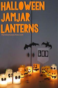Halloween Lanterns made with Recycled Jam Jars - PaintSewGlueChew
