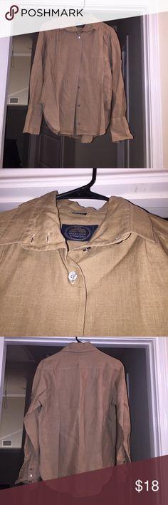 Linen top Linen top british khaki Tops Button Down Shirts