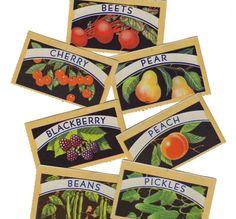 7pcs VINTAGE CANNING LABELS 1940s Gorgeous Color Set A  cOveTableCuriOsitiEs  at  Etsy