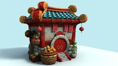 World of warcraft environment art pandaren_house ロ-ポ リ, ゲ-ム デ ザ イ ン, 等 角 図, Game Environment, Environment Concept, Environment Design, Low Poly, Game Art, Dog Kennel Cover, Game Assets, 3d Max, Environmental Art