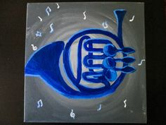 HIMYM Blue French Horn Acrylic Canvas Blue by SimplistiCreations