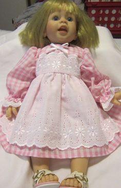 """Pink Gingham Dress,Fits 20"""" Lee Middleton Macie Toddler doll/19"""" Regan LM Doll #KindredHeartsDesigns"""
