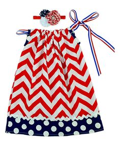 Look at this Red & Blue Chevron Dress & Headband - Infant, Toddler & Girls on #zulily today!