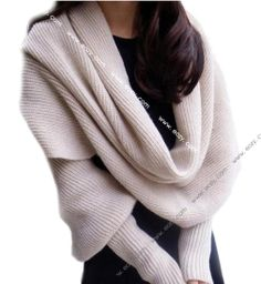 Solid Scarf With Sleeve Crochet Knit Long Soft Wrap Shawl Scarves #eozy