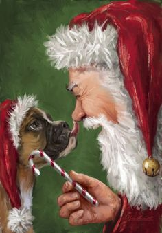 boxer dogs Christmas Boxer Dog Painting with Santa, Too Cute Christmas Boxers, Father Christmas, Christmas Dog, Merry Christmas, Primitive Christmas, Country Christmas, Christmas Scenes, Christmas Animals, Christmas Pictures