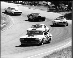 Sam Posey in his Dodge Challenger leads the trans-am group through the corkscrew in 1970 Road Race Car, Road Racing, Auto Racing, Le Mans, Ferrari, Classic Race Cars, Pony Car, Trans Am, Vintage Race Car