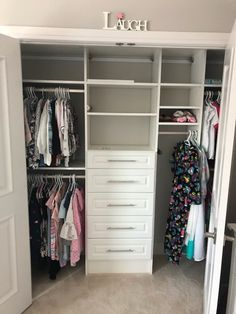 Your reach in closets needs some love to! Come see us for your free design consultation and we'll help you get organized and create the closet of you dreams! Custom Closet Design, Custom Closets, Reach In Closet, White Closet, Closet Remodel, Master Bedroom Closet, Small Closets, Closet Shelves, Custom Glass