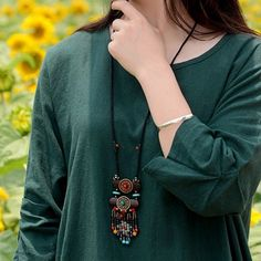Fashionable Ethnic Jewelry Necklace Vintage Wood Crystal Sweater Women Necklace - NewChic