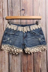 shop boutiques online for cute denim lace shorts Diy Shorts, Diy Jeans, Crochet Shorts, Denim And Lace, Lace Denim Shorts, Shabby Chic Outfits, Fashion Sewing, Diy Fashion, Shopping Outfits