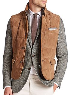 Eleventy Suede Puffer Vest