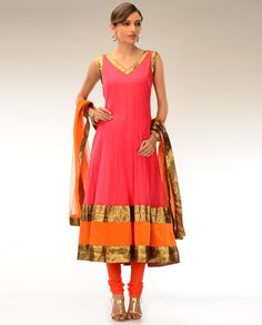 Candy Pink Kalidar Suit with Velvet